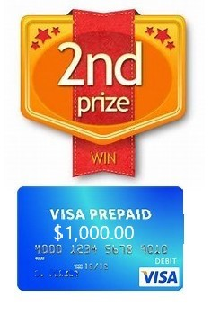 2nd Prize - $1,000.00 Prepaid Visa Card